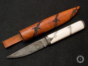 Jagdmesser, Kettendamast und Elfenbeingriff